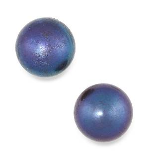 A PAIR OF BLACK PEARL STUD EARRINGS each set with a