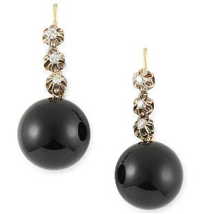 A PAIR OF ONYX AND DIAMOND DROP EARRINGS set with round