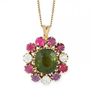 A TOURMALINE RUBY AND DIAMOND PENDANT AND CHAIN in