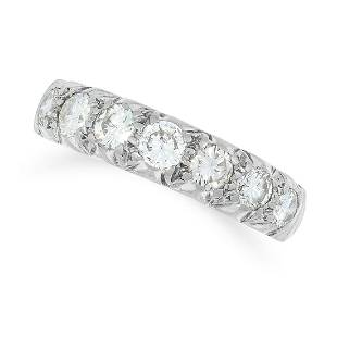 A DIAMOND HALF ETERNITY RING set with seven round cut