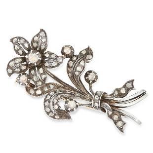AN ANTIQUE DIAMOND FLORAL SPRAY BROOCH designed as a