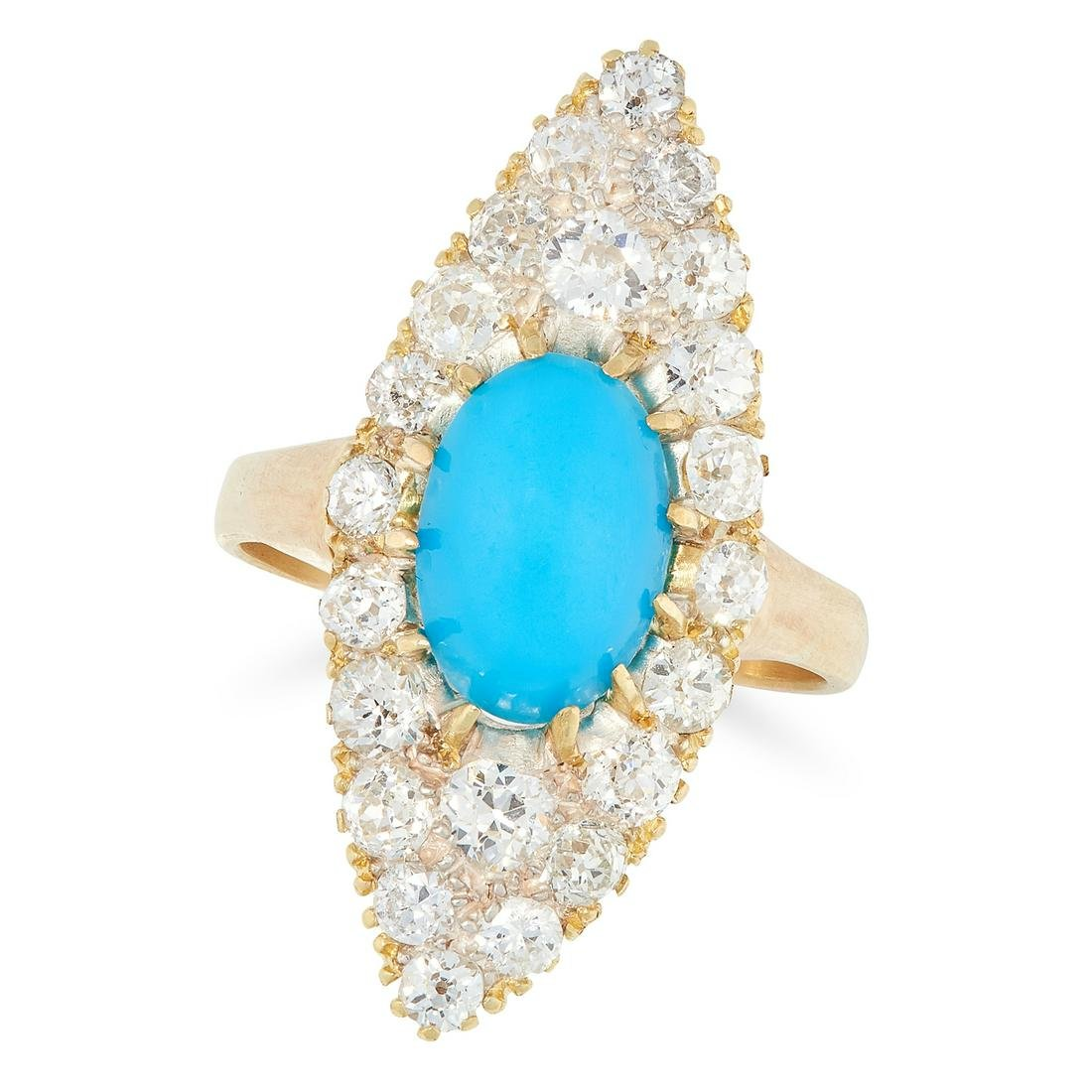 A TURQUOISE AND DIAMOND NAVETTE RING set with a central