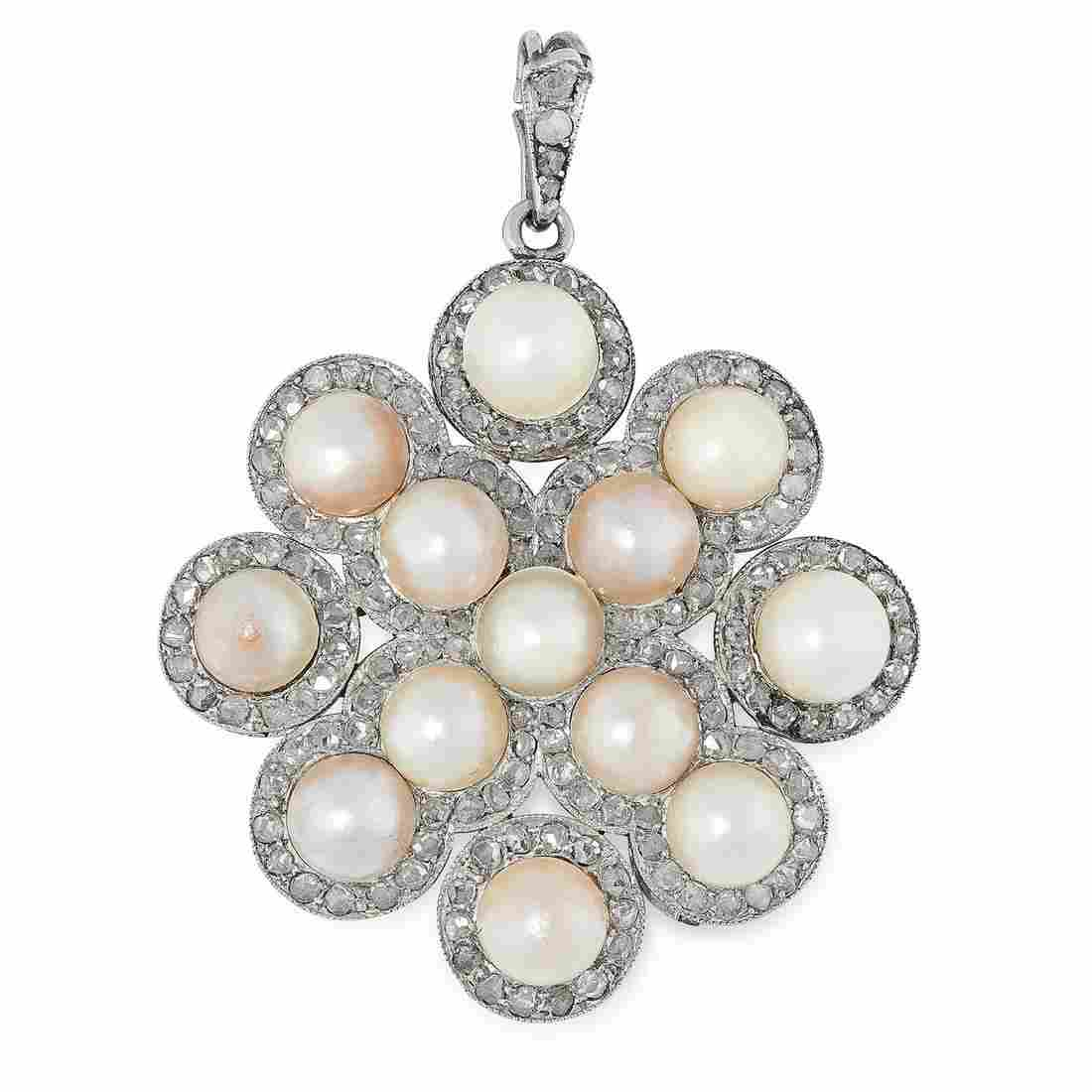 AN ANTIQUE NATURAL PEARL AND DIAMOND PENDANT, EARLY