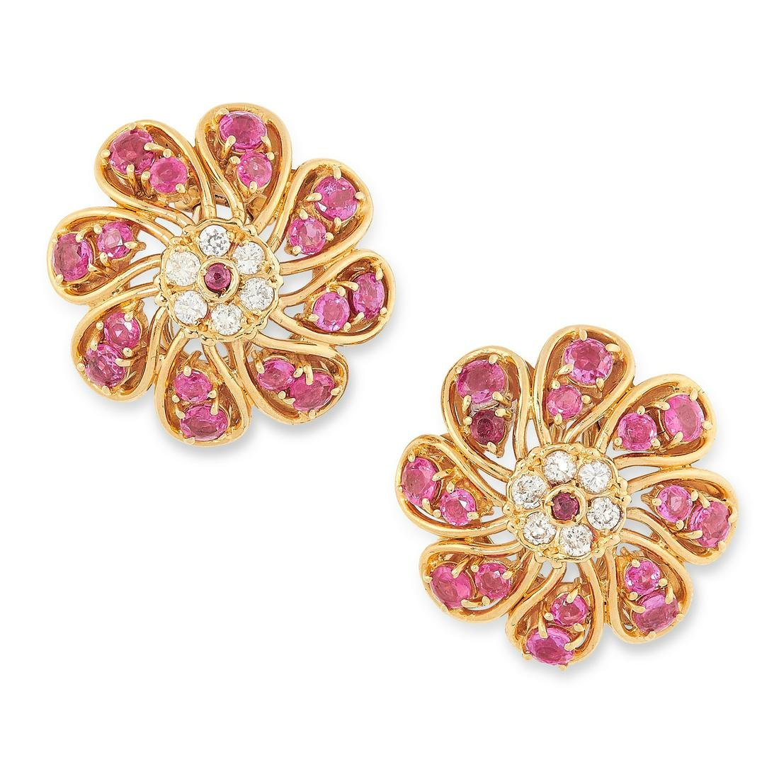 A PAIR OF VINTAGE RUBY AND DIAMOND CLUSTER EARRINGS