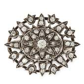 AN ANTIQUE VICTORIAN DIAMOND BROOCH, 19TH CENTURY in