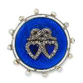 AN ANTIQUE DIAMOND PEARL AND ENAMEL SWEETHEART BROOCH