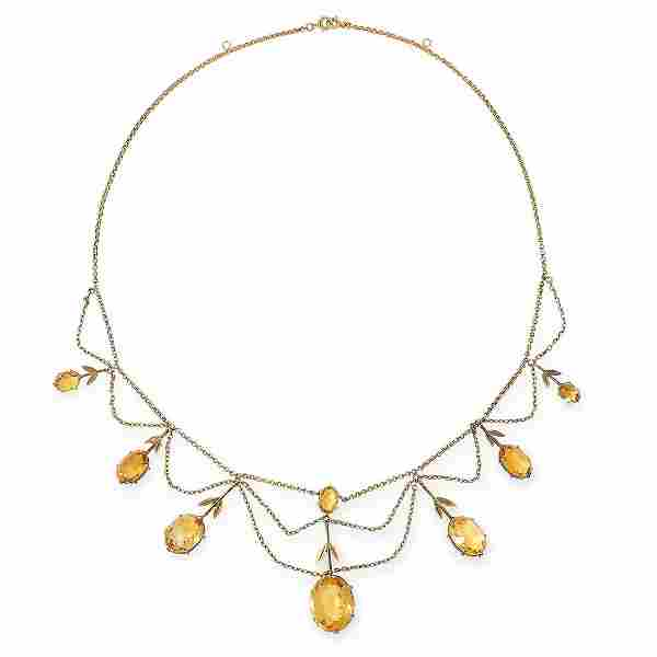 AN ANTIQUE CITRINE NECKLACE, LATE 19TH CENTURY in