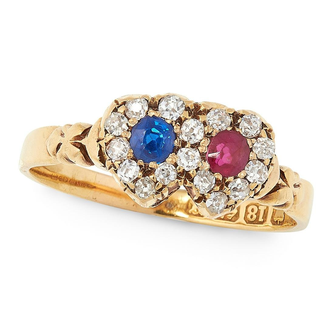 AN ANTIQUE VICTORIAN RUBY, SAPPHIRE AND DIAMOND