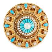 AN ANTIQUE TURQUOISE AND PEARL MOURNING LOCKET BROOCH