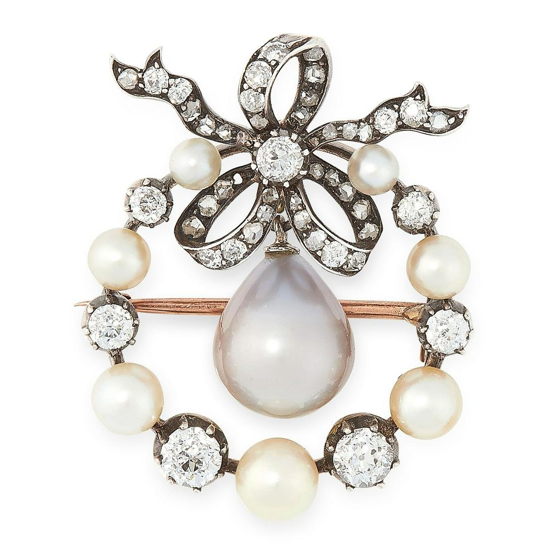 AN ANTIQUE NATURAL PEARL AND DIAMOND BROOCH / PENDANT