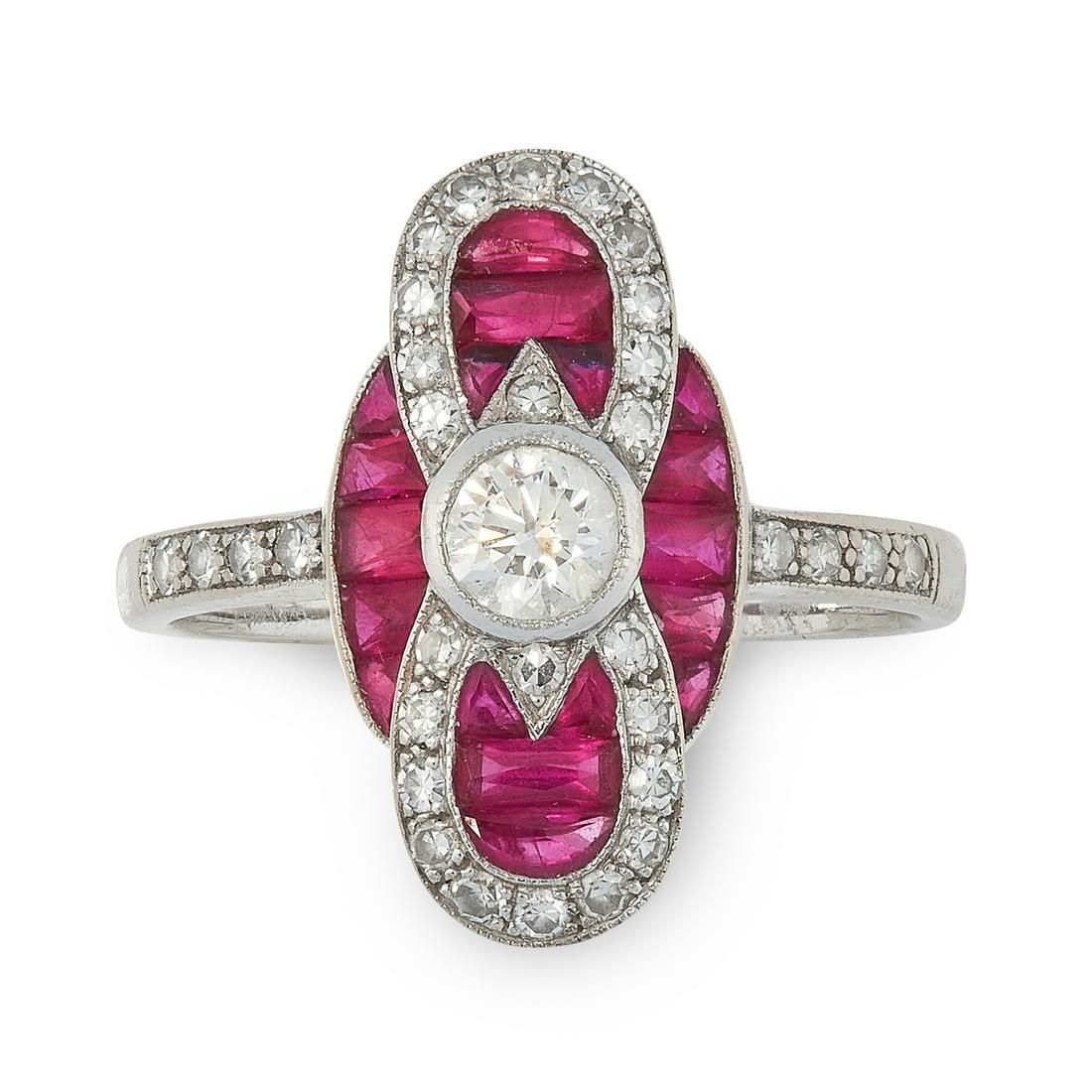 A RUBY AND DIAMOND RING in 18ct white gold, in Art Deco