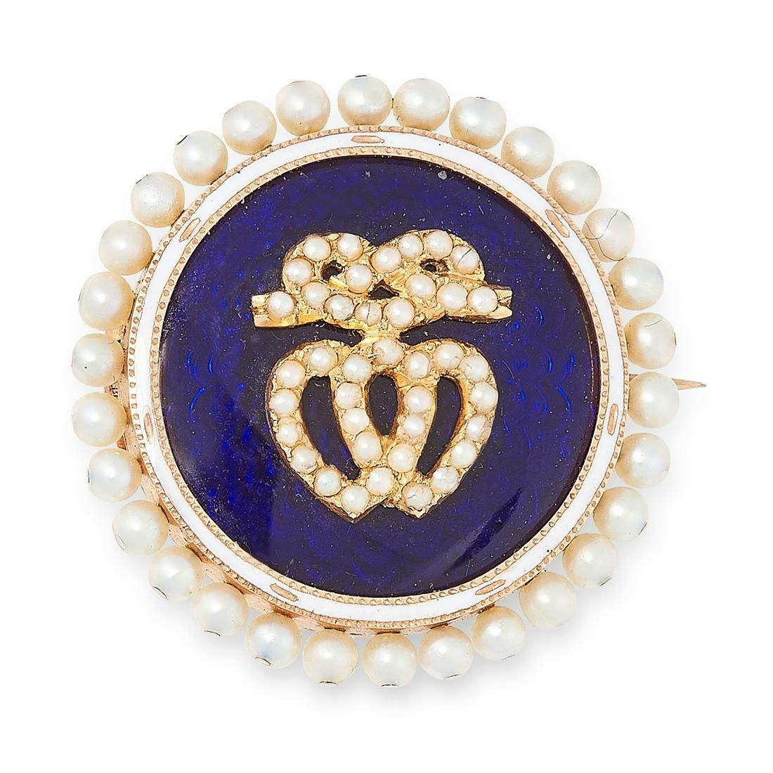AN ANTIQUE DIAMOND, PEARL AND ENAMEL SWEETHEART BROOCH,