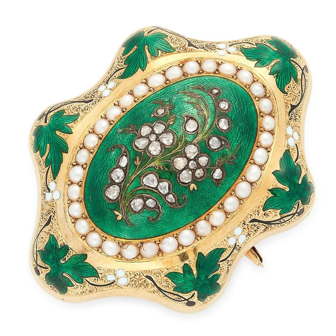 AN ANTIQUE PEARL, DIAMOND AND ENAMEL FORGET ME NOT