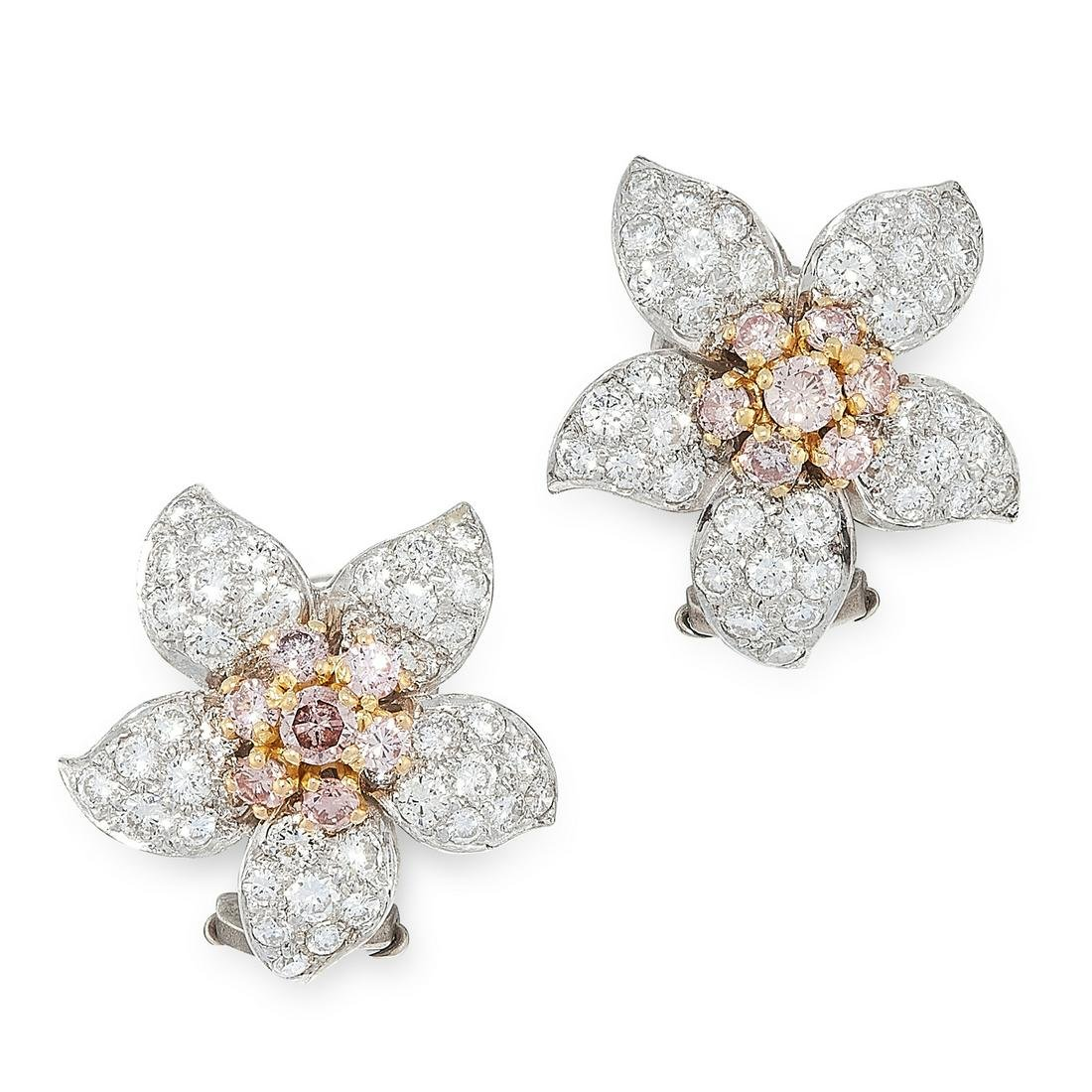 A PAIR OF FANCY PINK AND WHITE DIAMOND EARRINGS in 18ct