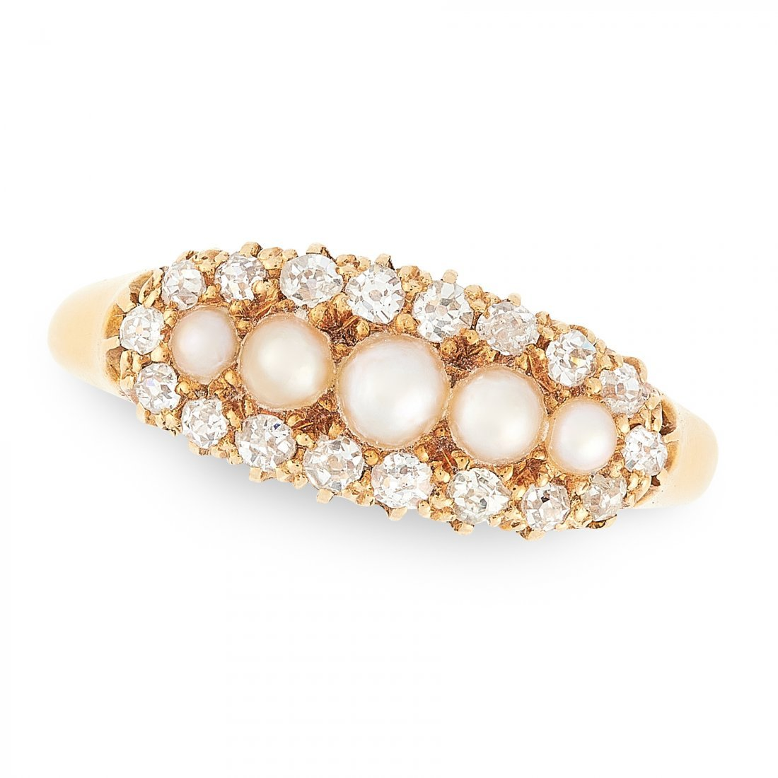 AN ANTIQUE PEARL AND DIAMOND RING, 1900 in 18ct yellow