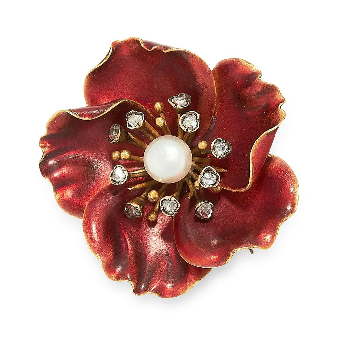 AN ANTIQUE PEARL, DIAMOND AND ENAMEL FLOWER BROOCH in