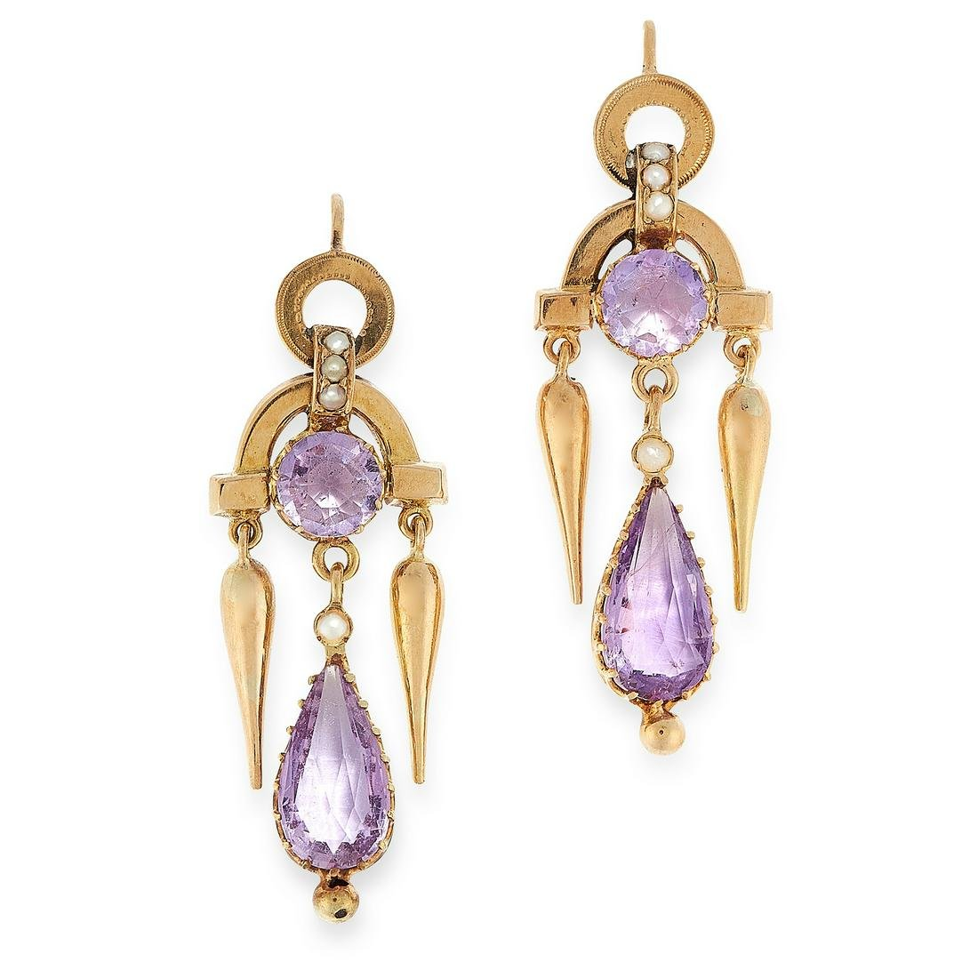 A PAIR OF ANTIQUE AMETHYST AND PEARL EARRINGS, 19TH