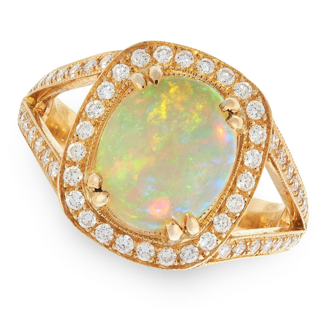 AN OPAL AND DIAMOND DRESS RING in 18ct yellow gold, set