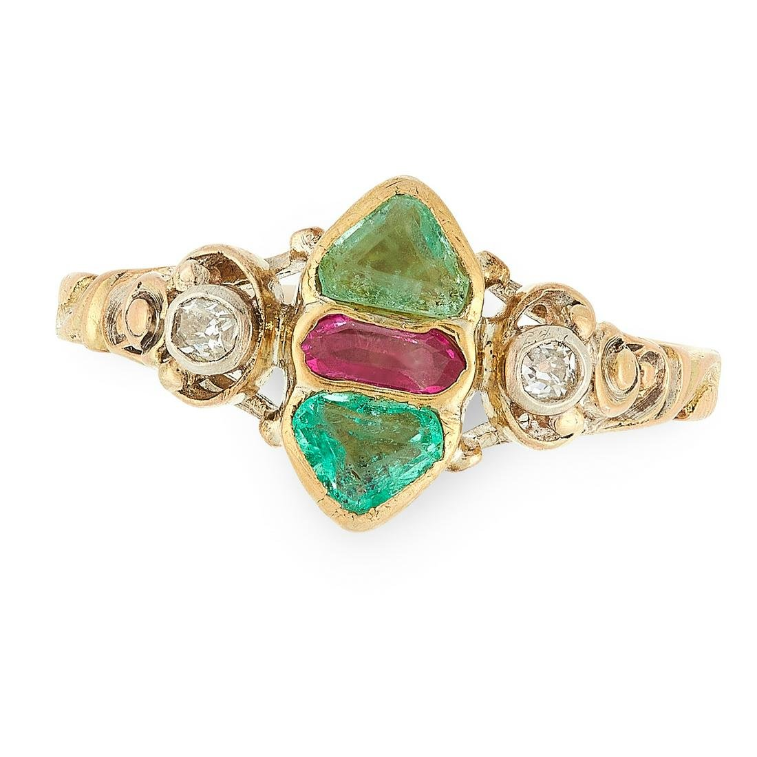 AN ANTIQUE GEORGIAN RUBY, EMERALD AND DIAMOND RING in