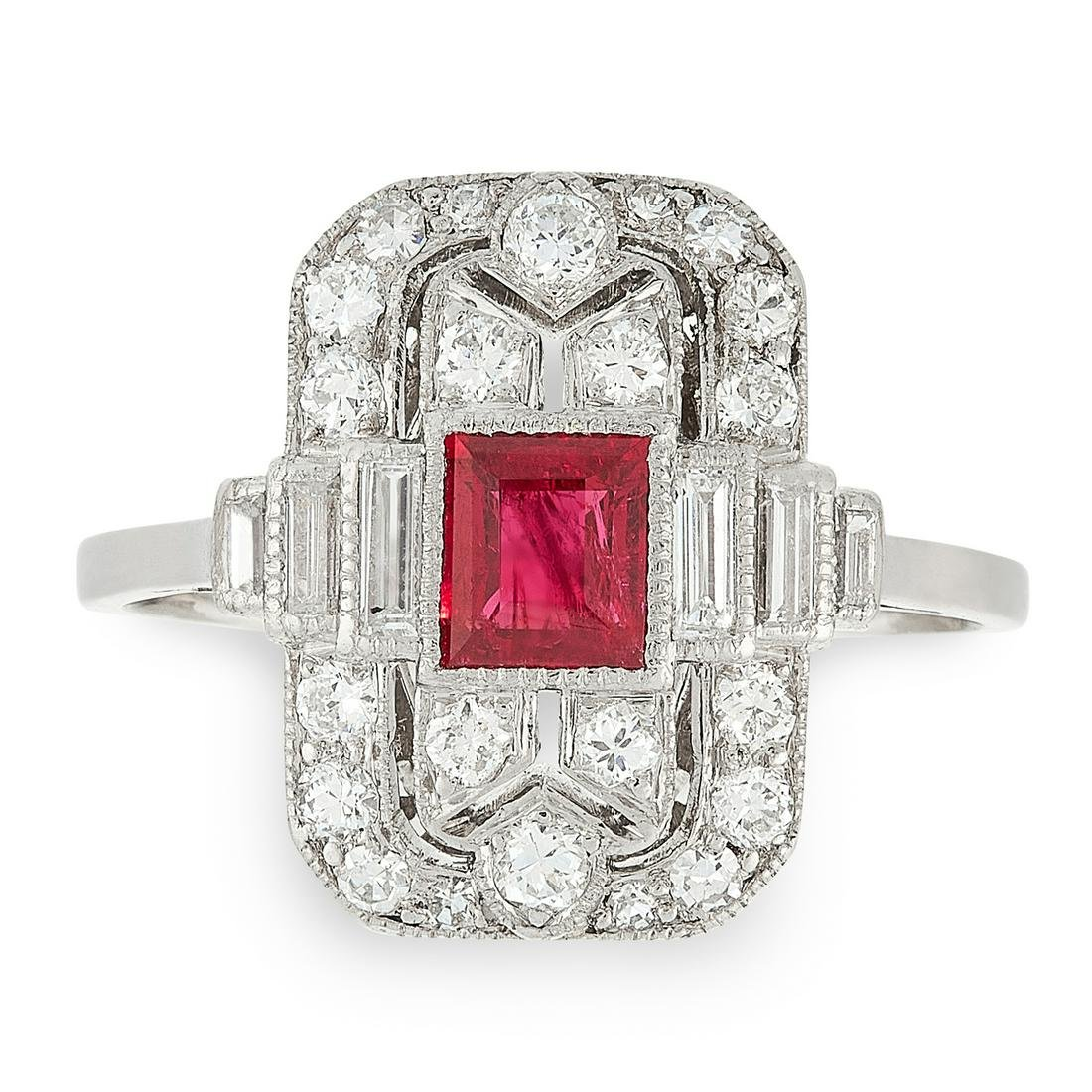 A RUBY AND DIAMOND DRESS RING in Art Deco design, set