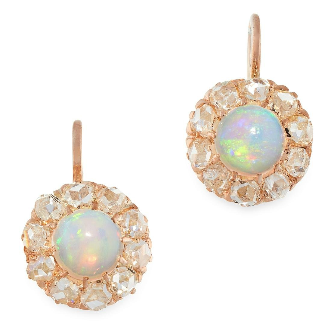 A PAIR OF OPAL AND DIAMOND CLUSTER EARRINGS set with a