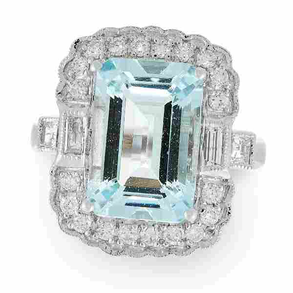 AN AQUAMARINE AND DIAMOND RING in 18ct white gold, set