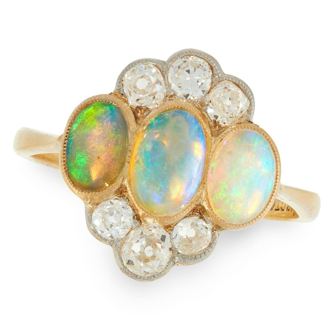 AN ART DECO OPAL AND DIAMOND RING, EARLY 20TH CENTURY