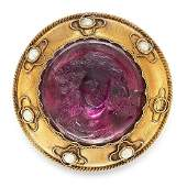 AN ANTIQUE AMETHYST AND PEARL CAMEO BROOCH 19TH