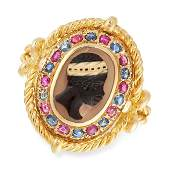 AN ANTIQUE RUBY SAPPHIRE AND HARDSTONE BLACKAMOOR