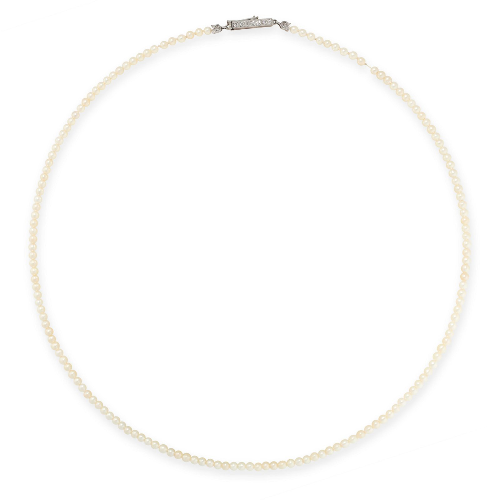AN ANTIQUE NATURAL PEARL AND DIAMOND NECKLACE, EARLY