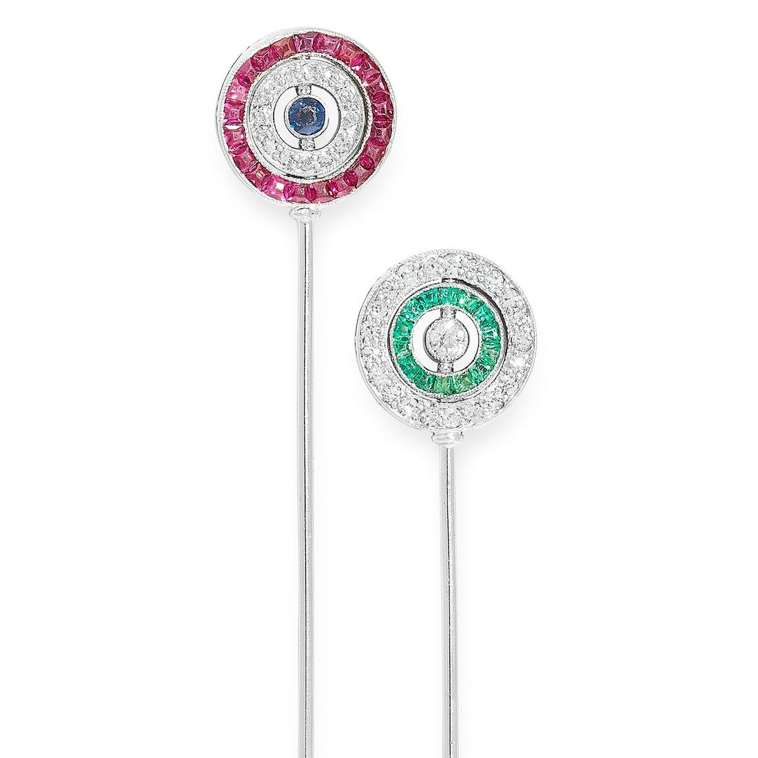 AN ART DECO RUBY, EMERALD, SAPPHIRE AND DIAMOND PIN