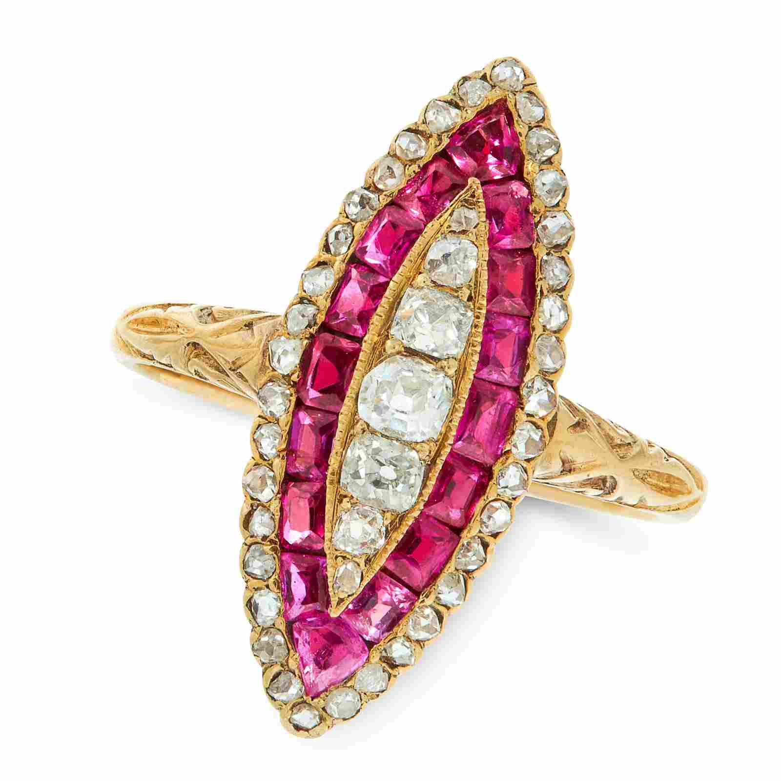 A RUBY AND DIAMOND DRESS RING in 18ct yellow gold, the