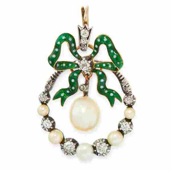 AN ANTIQUE NATURAL PEARL, DIAMOND AND ENAMEL PENDANT in
