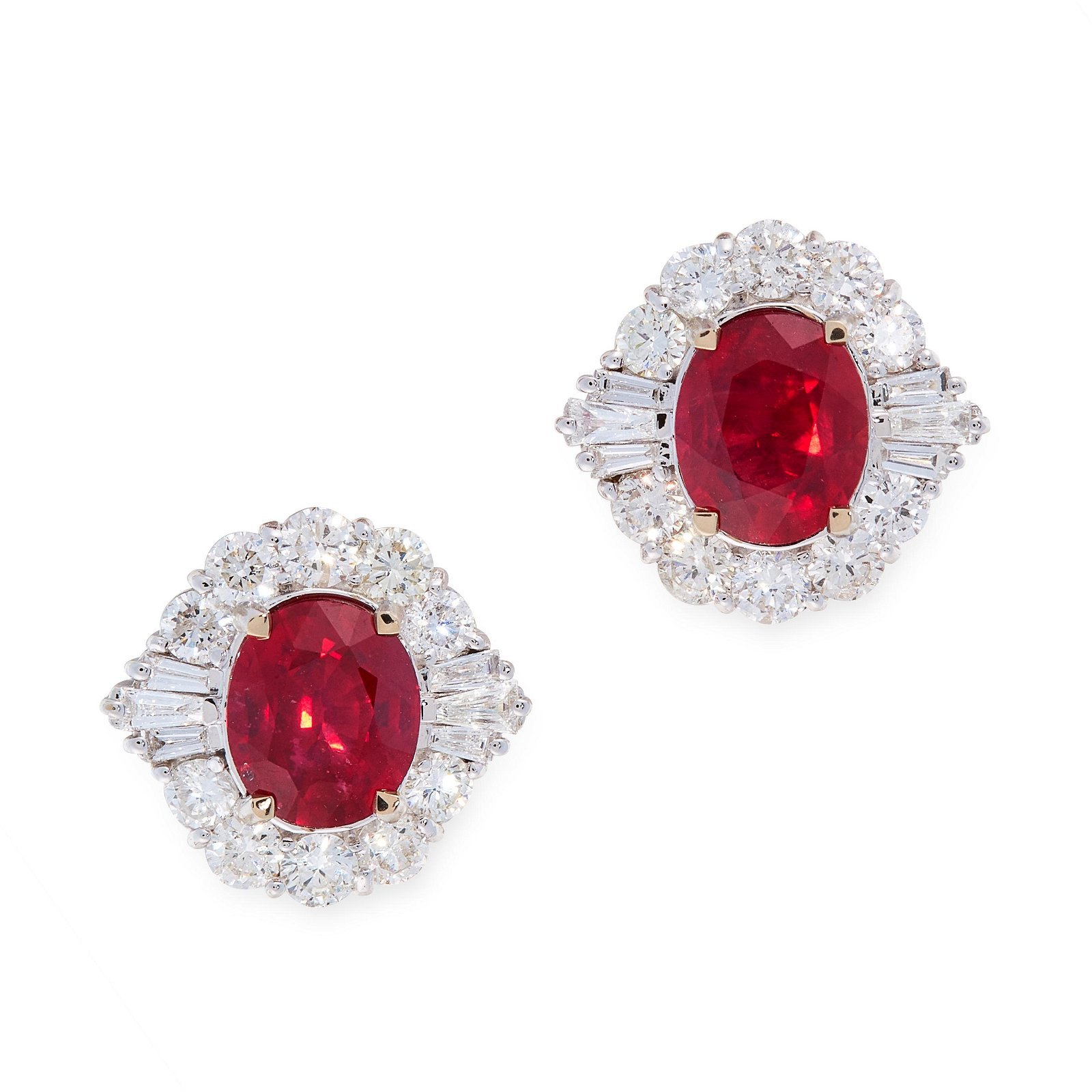 A PAIR OF RUBY AND DIAMOND EARRINGS in 18ct white gold,