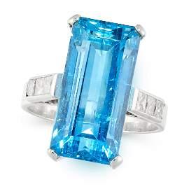 AN AQUAMARINE AND DIAMOND DRESS RING set with an