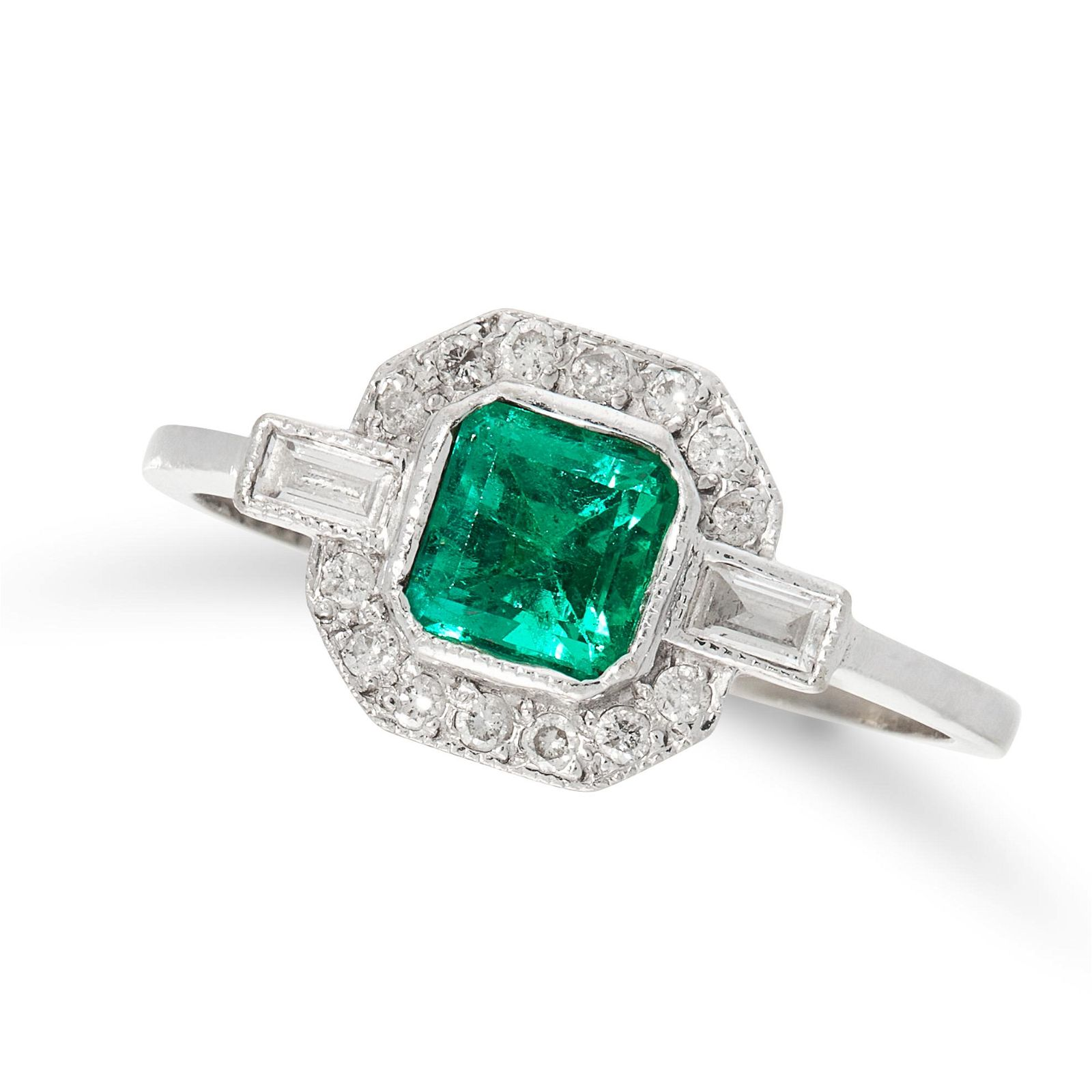 AN ART DECO EMERALD AND DIAMOND DRESS RING in 18ct