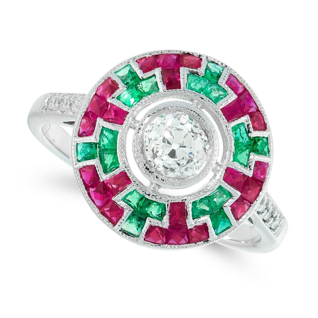 A DIAMOND, RUBY AND EMERALD TARGET RING in 18ct white