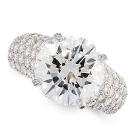 AN IMPORTANT 6.36 CARAT SOLITAIRE DIAMOND RING, CARTIER