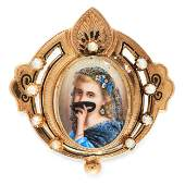 A PEARL, DIAMOND AND ENAMEL PORTRAIT MINIATURE BROOCH