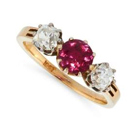AN UNHEATED RUBY AND DIAMOND DRESS RING in 18ct yellow