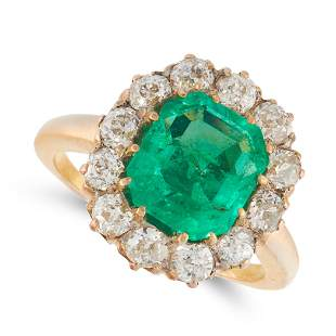 A COLOMBIAN EMERALD AND DIAMOND RING, EARLY 20TH