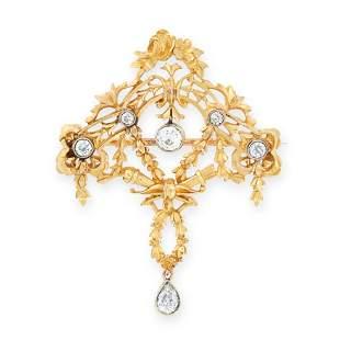 AN ANTIQUE DIAMOND PENDANT / BROOCH, 19TH CENTURY in