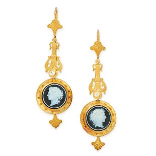 A PAIR OF ANTIQUE CAMEO AND PEARL EARRINGS, 19TH