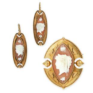 AN ANTIQUE CAMEO BROOCH AND EARRINGS SUITE in yellow