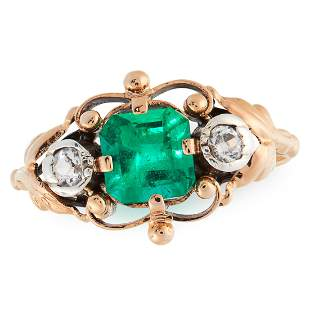 A COLOMBIAN EMERALD AND DIAMOND RING, CIRCA 1945 in