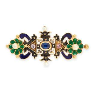 AN ANTIQUE SAPPHIRE, DIAMOND, PEARL AND ENAMEL BROOCH