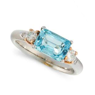 AN AQUAMARINE AND DIAMOND DRESS RING, HIRSH in