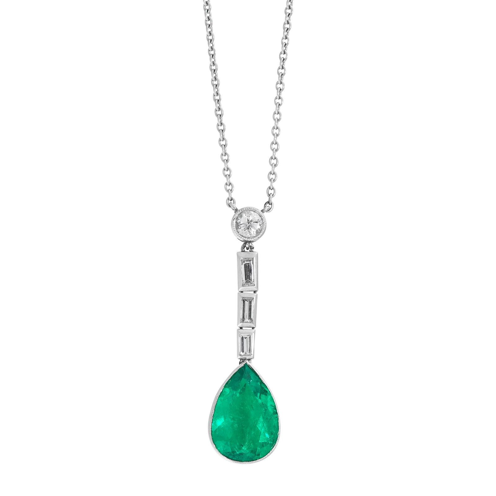 A COLOMBIAN EMERALD AND DIAMOND PENDANT NECKLACE in