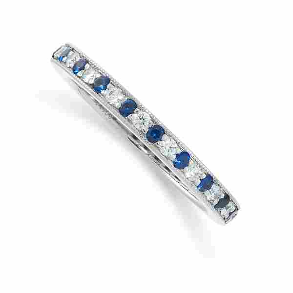 A SAPPHIRE AND DIAMOND ETERNITY RING, TIFFANY & CO in
