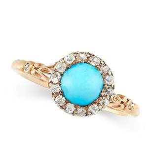 ANTIQUE TURQUOISE AND DIAMOND RING, LATE 19TH CENTURY